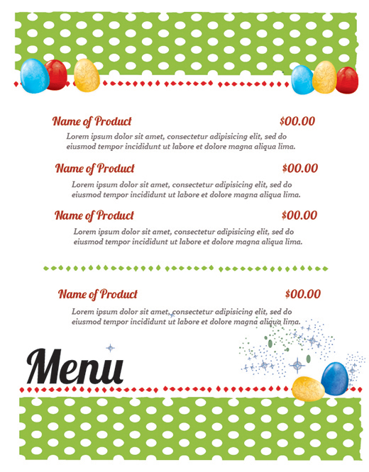 FREE Easter Restaurant Menu Templates for Photoshop and Illustrator ...