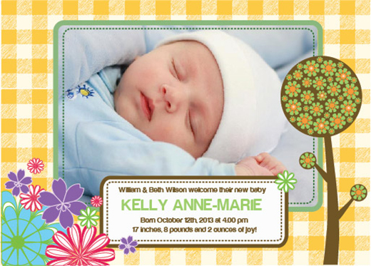 Free Birth Announcements Templates for Photoshop Illustrator – Baby Announcement Free Template