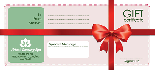 Free holiday gift certificate templates in photoshop and vector spaagiftcertificate yelopaper Image collections
