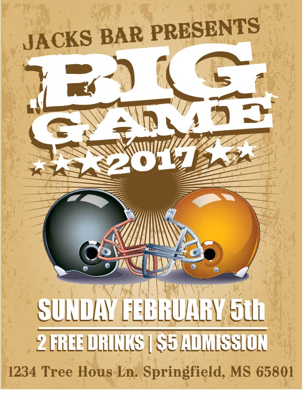 super bowl party flyer template