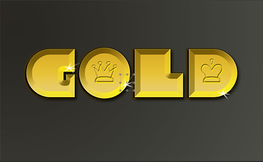 easy gold psd font effect