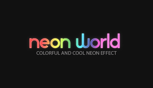 neon style font effect photoshop
