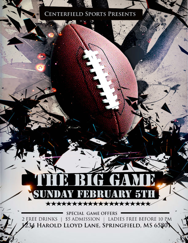 Football flyer templates for the big game
