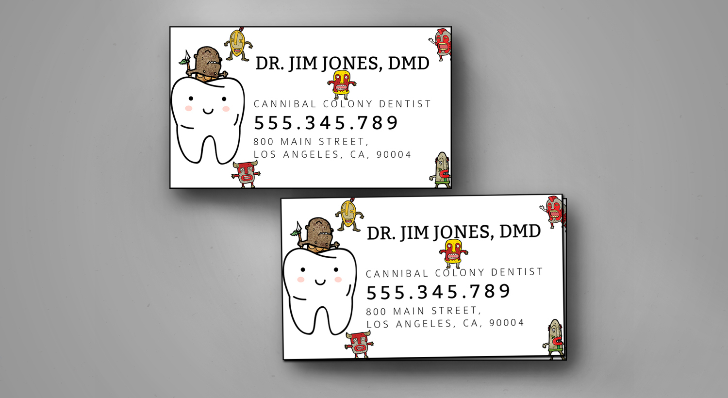 printed business cards for a cannibal colony dentist