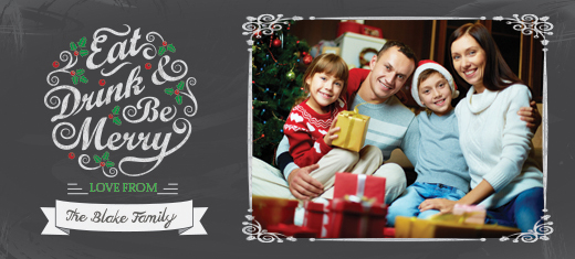 an elegant and stylish seasonal design in a chalkboard style to add some flair to your personalized holiday photo cards - Photoshop Christmas Card Templates