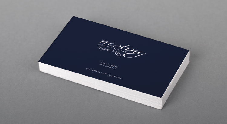 Business card with small font size