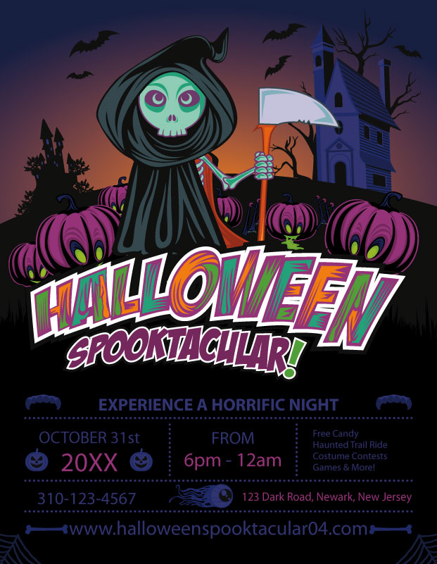 halloween flyer template grim reaper - Free Halloween Flyer Templates