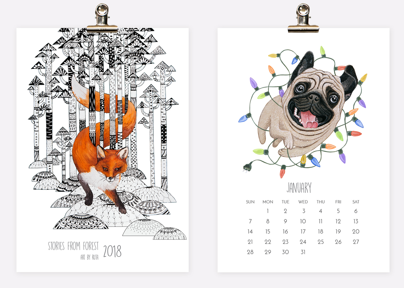 2018 wall & desk Calendar Stories from Forest by Ruta Dumalakaite