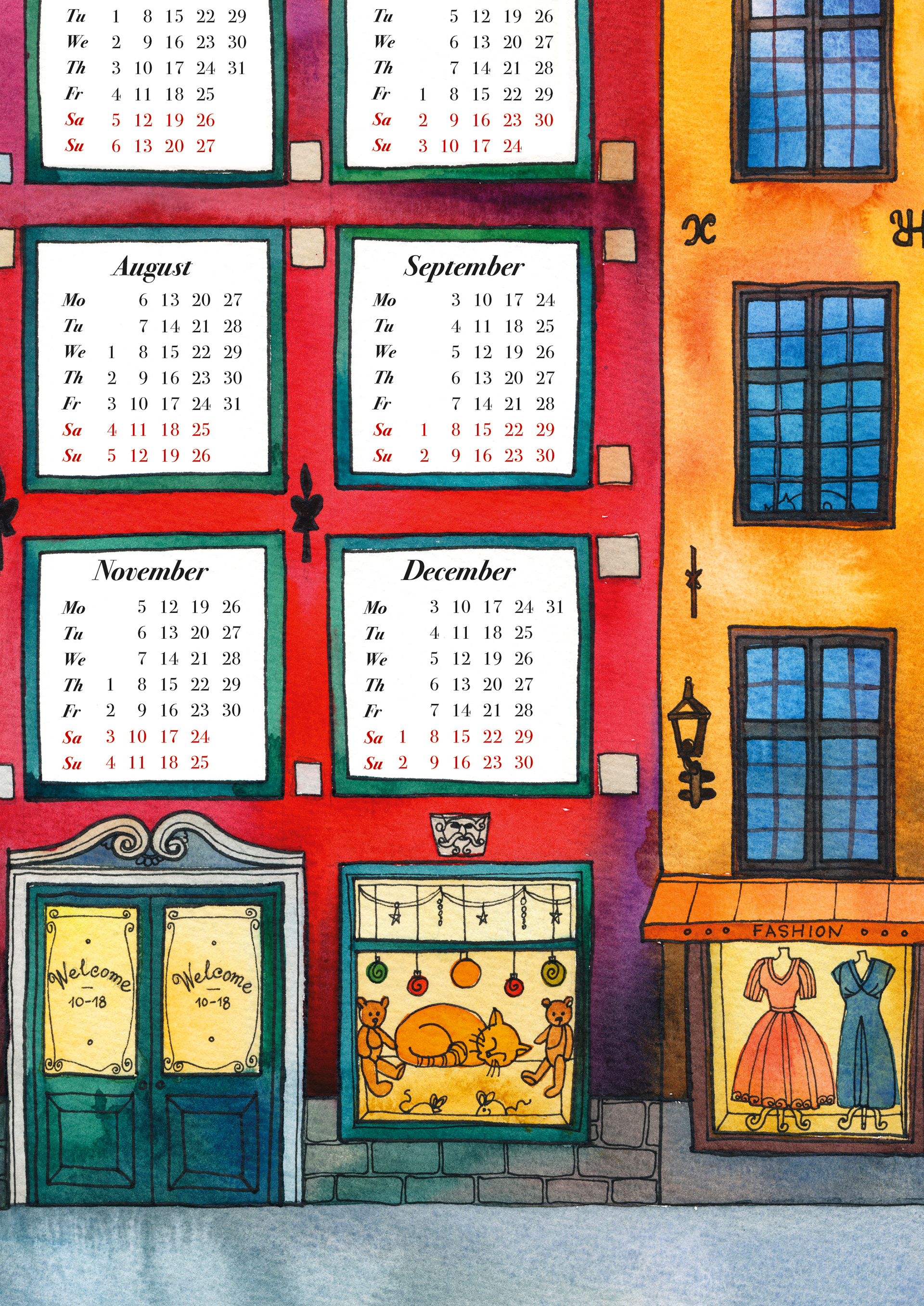 Wall Calendar «Red House» by Olga Begak