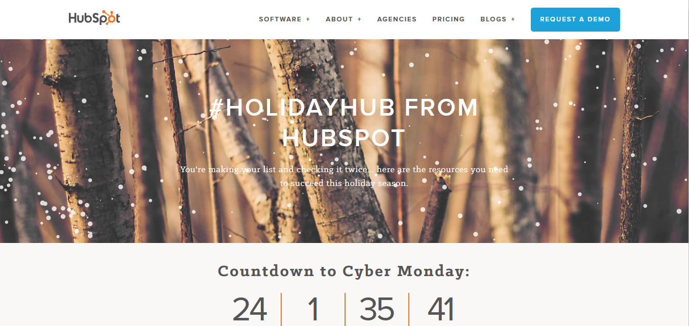 hubspot holiday themed webpage