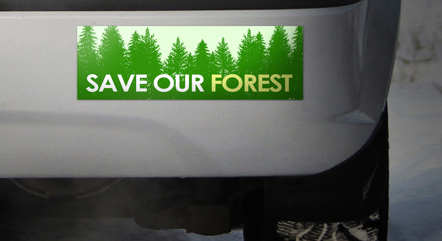 "Environmental bumper sticker ""Save the Forest"""