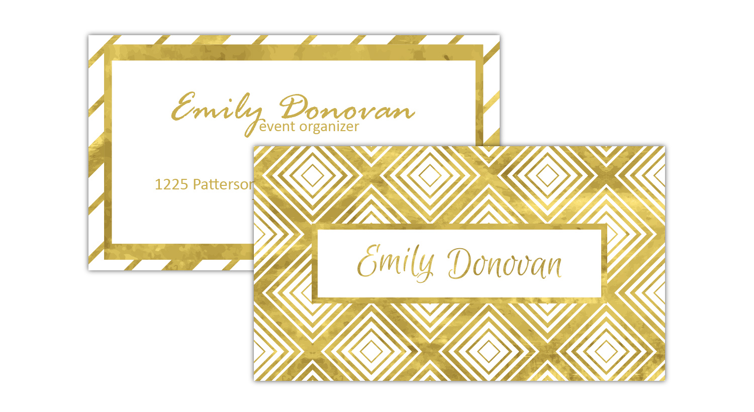 Gold foil stamping in business card.
