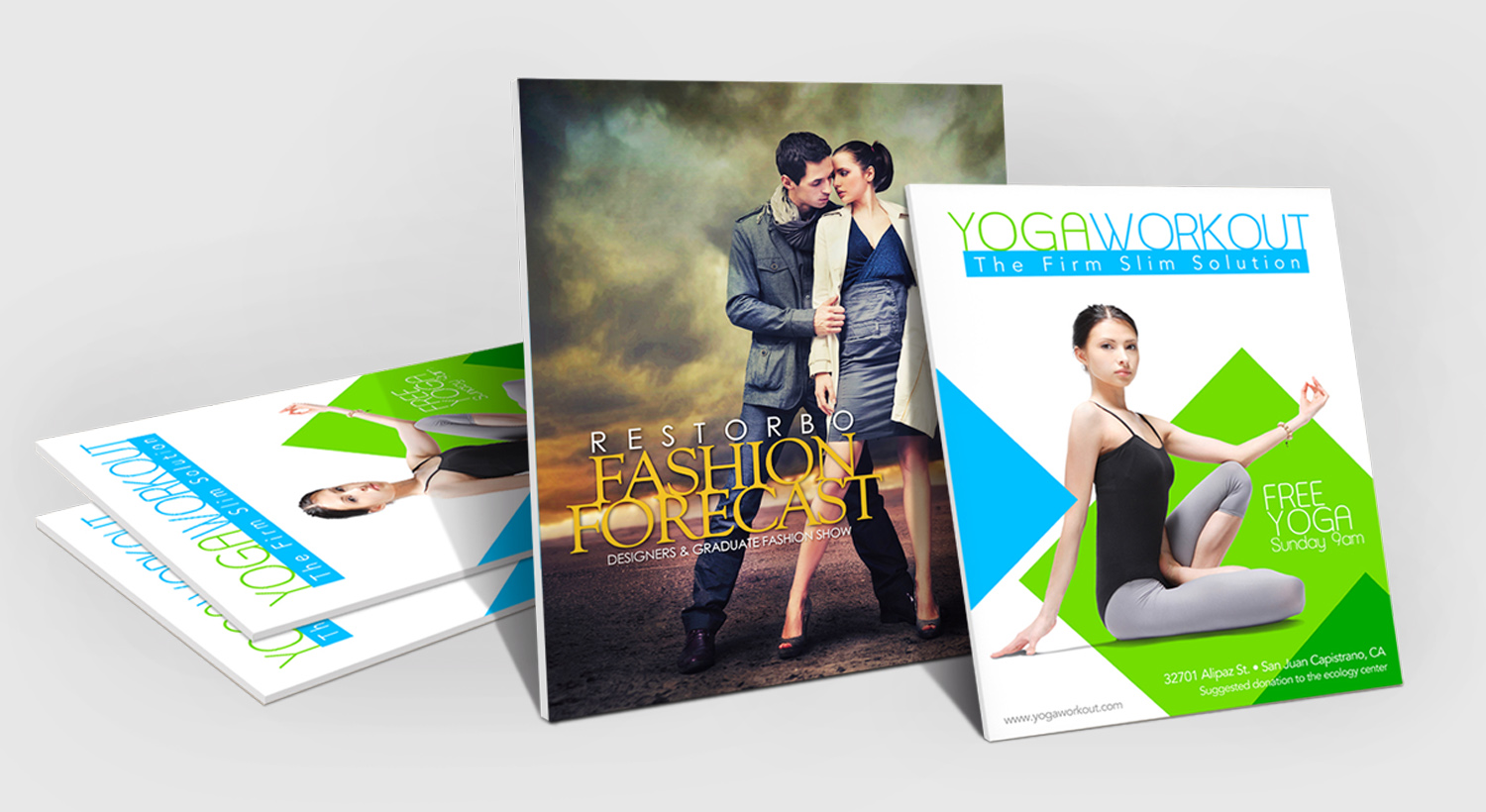 Fashion and yoga event posters