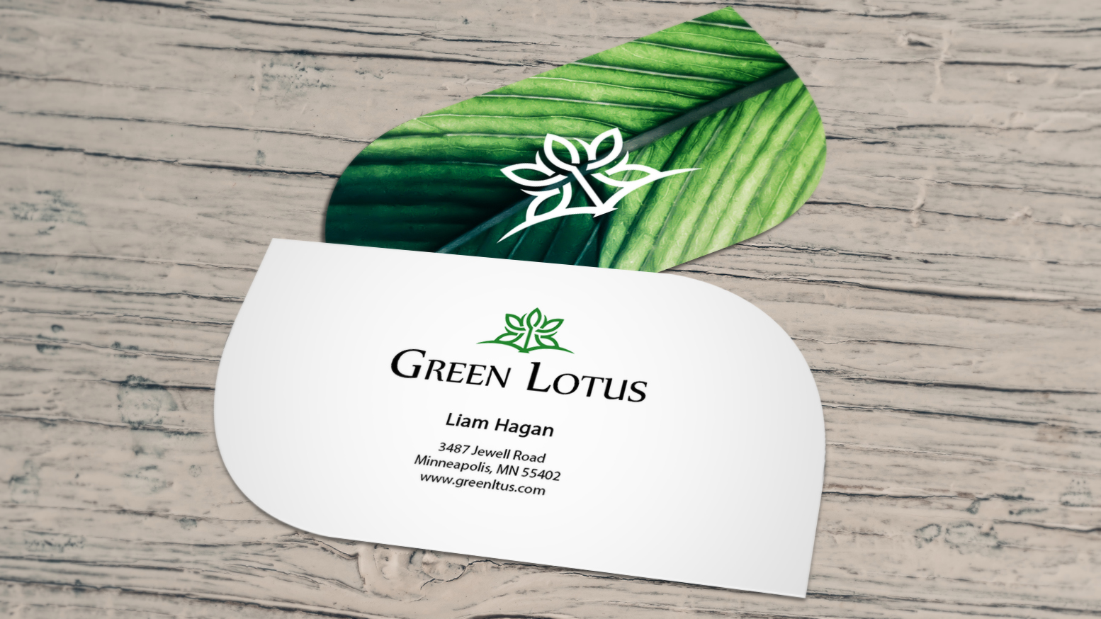 Leaf business card for an environmental organization