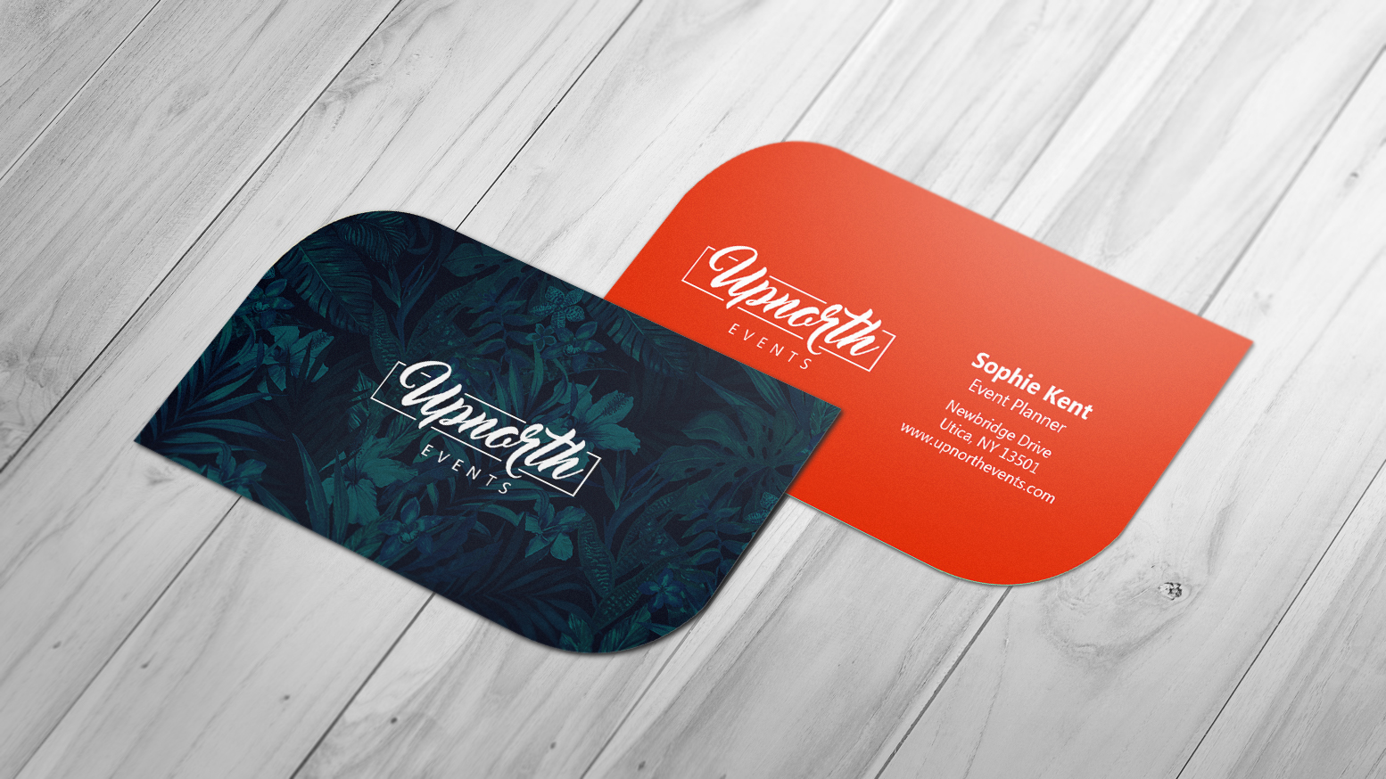 Leaf business card for an events company