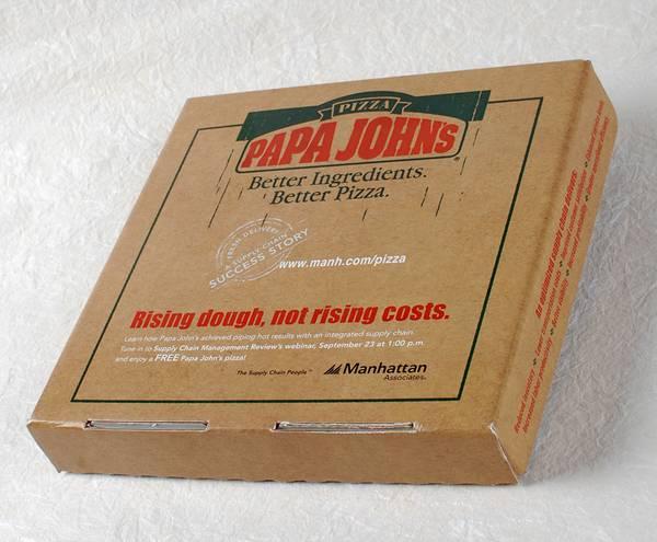 Papa John's pizza box direct mail marketing ideas