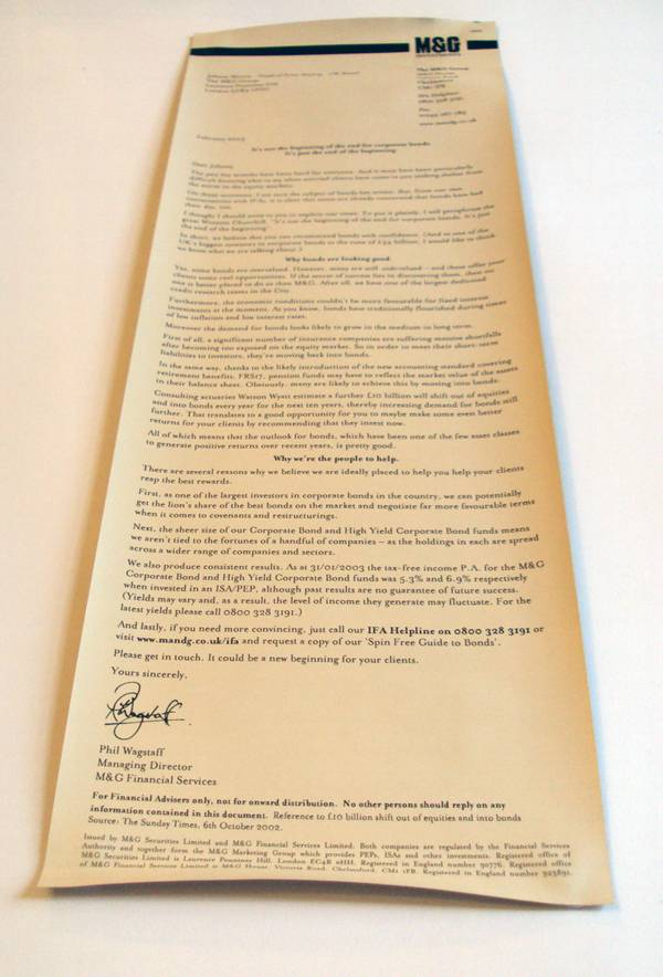 M&G's Churchill cigar direct mail marketing idea