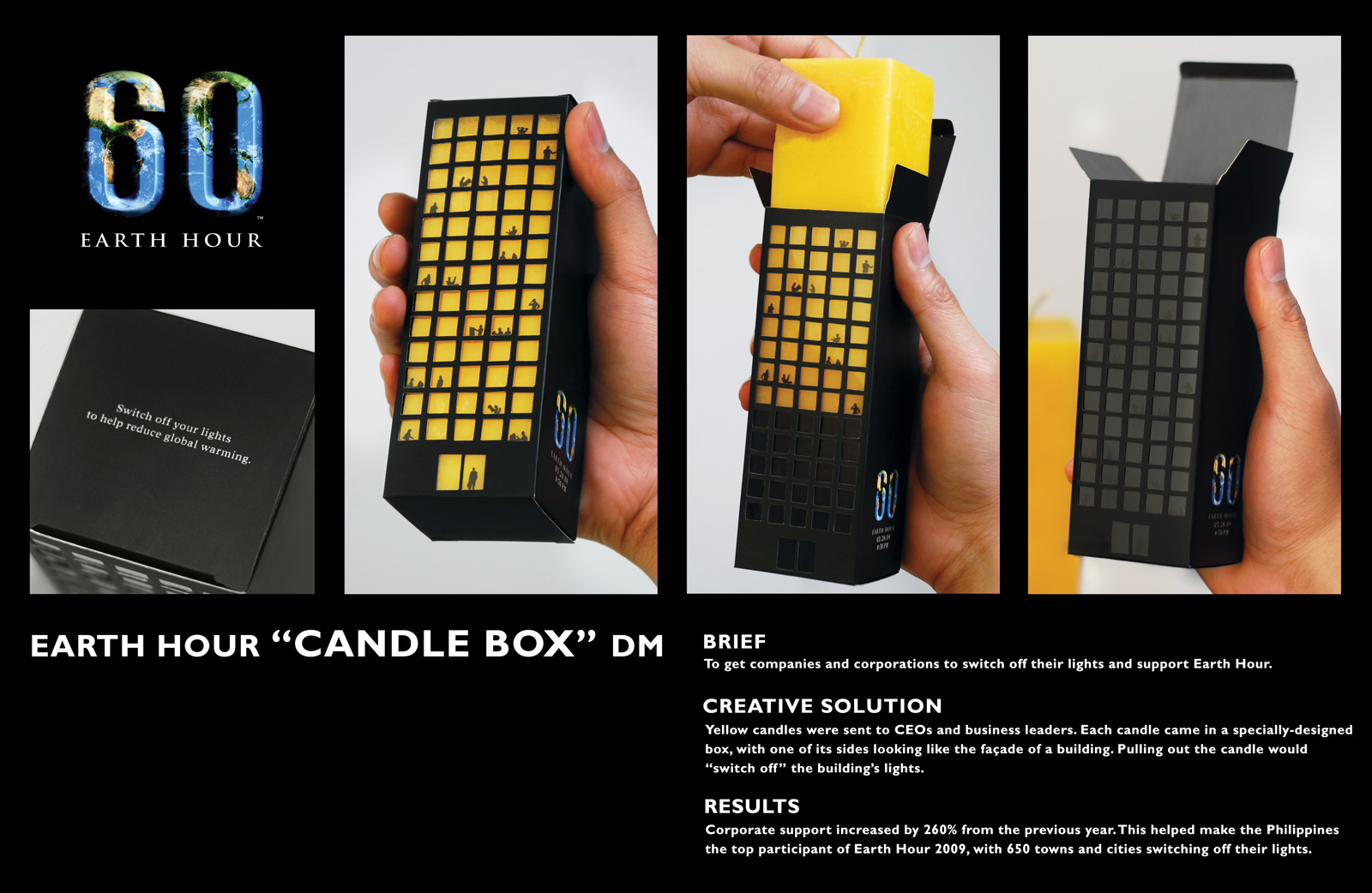 Candle Box for Earth Hour direct mail marketing idea