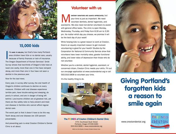 The Friends of Creston Children's Dental Clinic marketing brochure