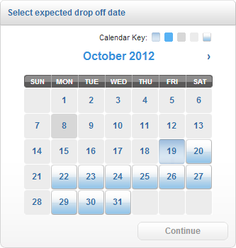 Select Expected Drop Off Date