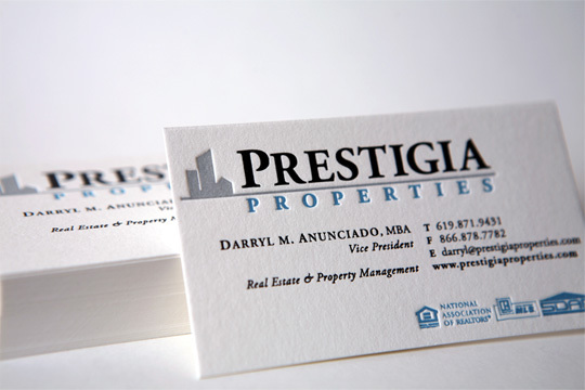 Prestigia Properties Business Card Design