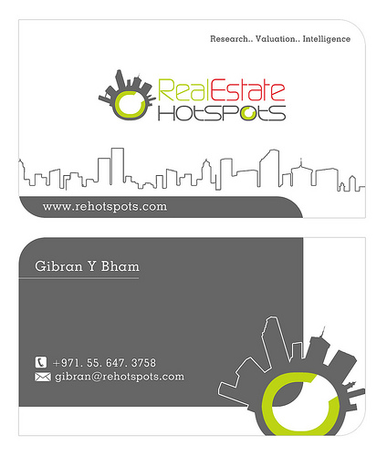 Business cards designed for Dubai based Real Estate Research Company