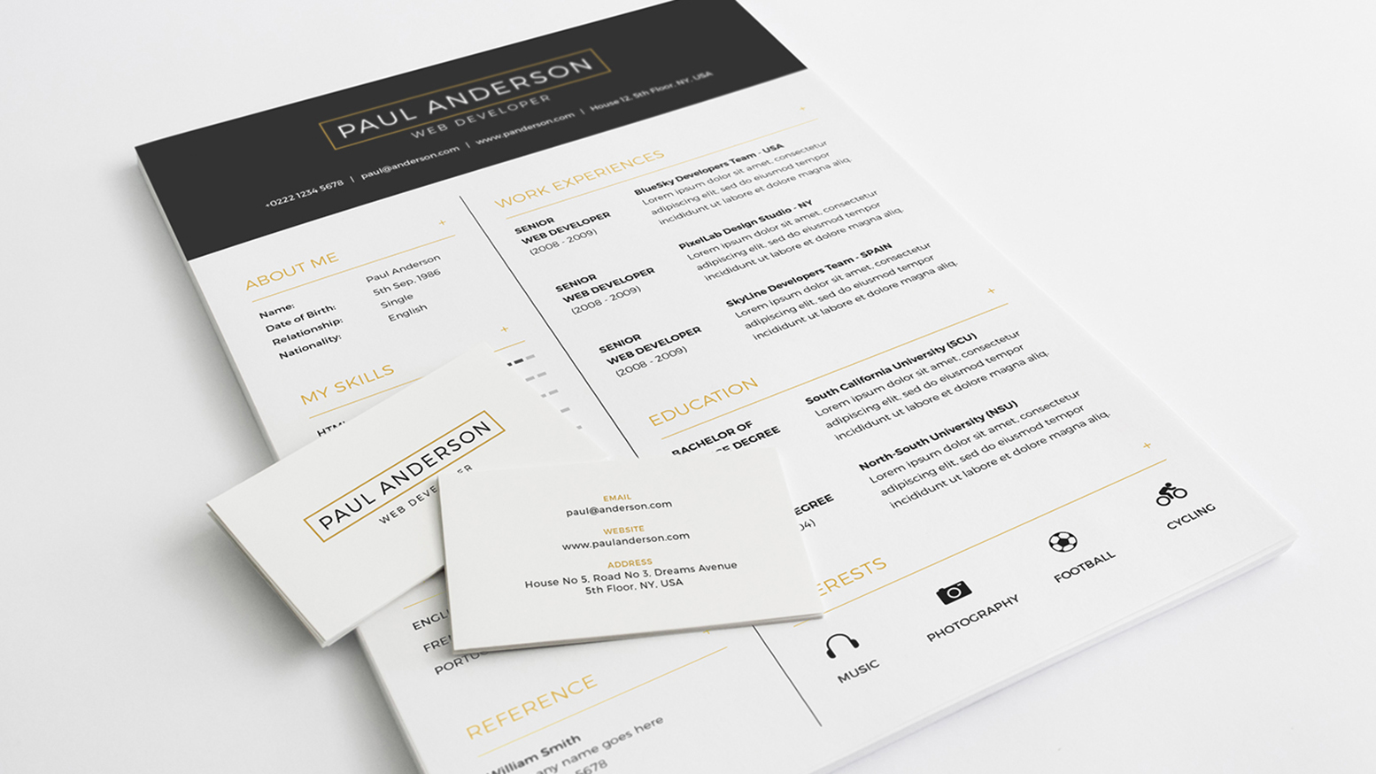 Business card and resume design