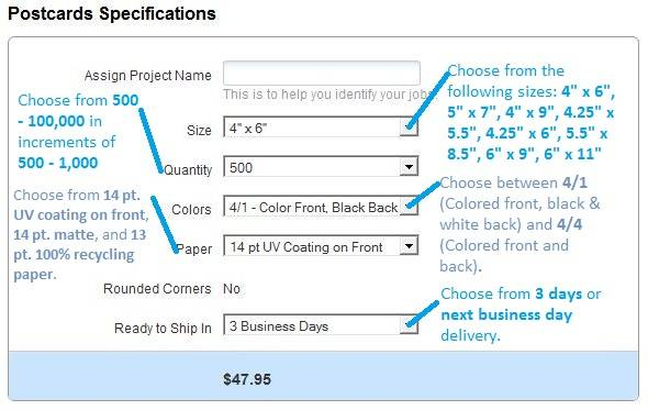 Postcards Specifications on the PrintRunner Mailing Services Page