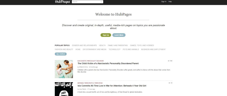 best blogging platforms Hubpages Homepage