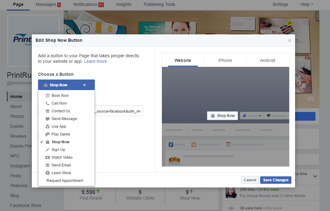 List of facebook Call-to-Action buttons