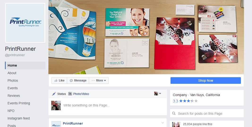 PrintRunner page with Facebook call-to-action button