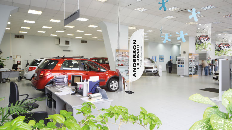 Feather banner used indoors in a car business