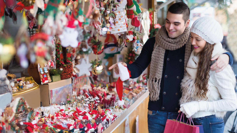 Couple shopping in a Christmas shop