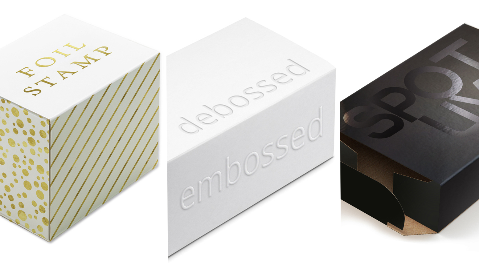new product packaging technologies foil stamp, debossed, embossed, spot uv