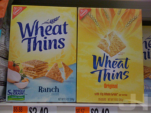 Old and new product packaging comparison for wheat thins