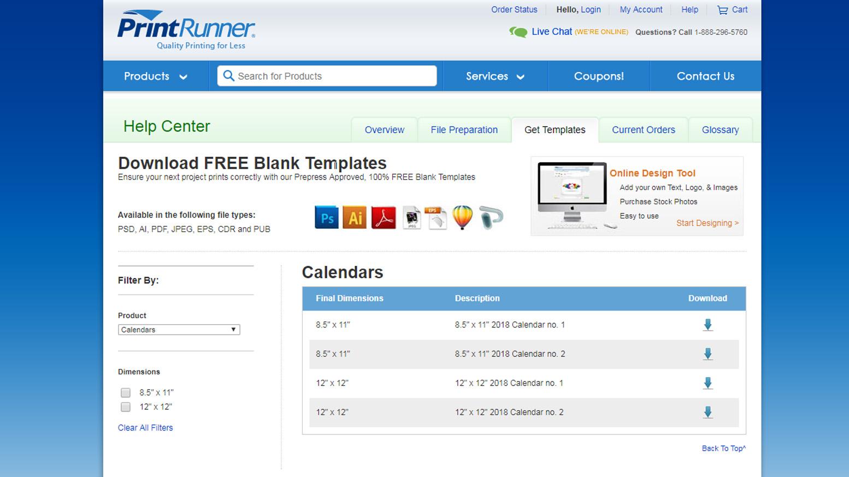 Free PrintRunner Calendar Templates