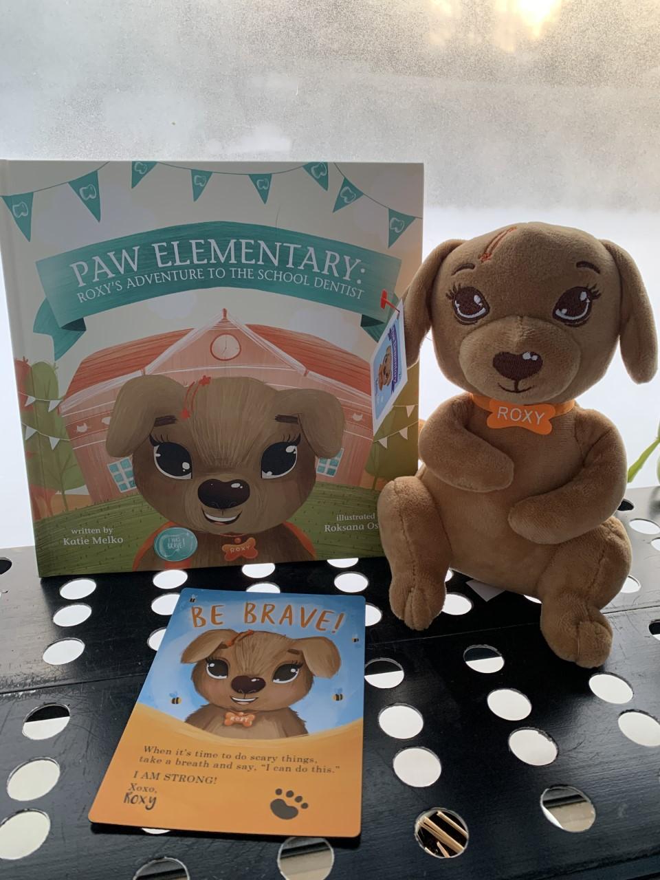 Paw Elementary book, inspiration postcard, Roxy stuffed toy