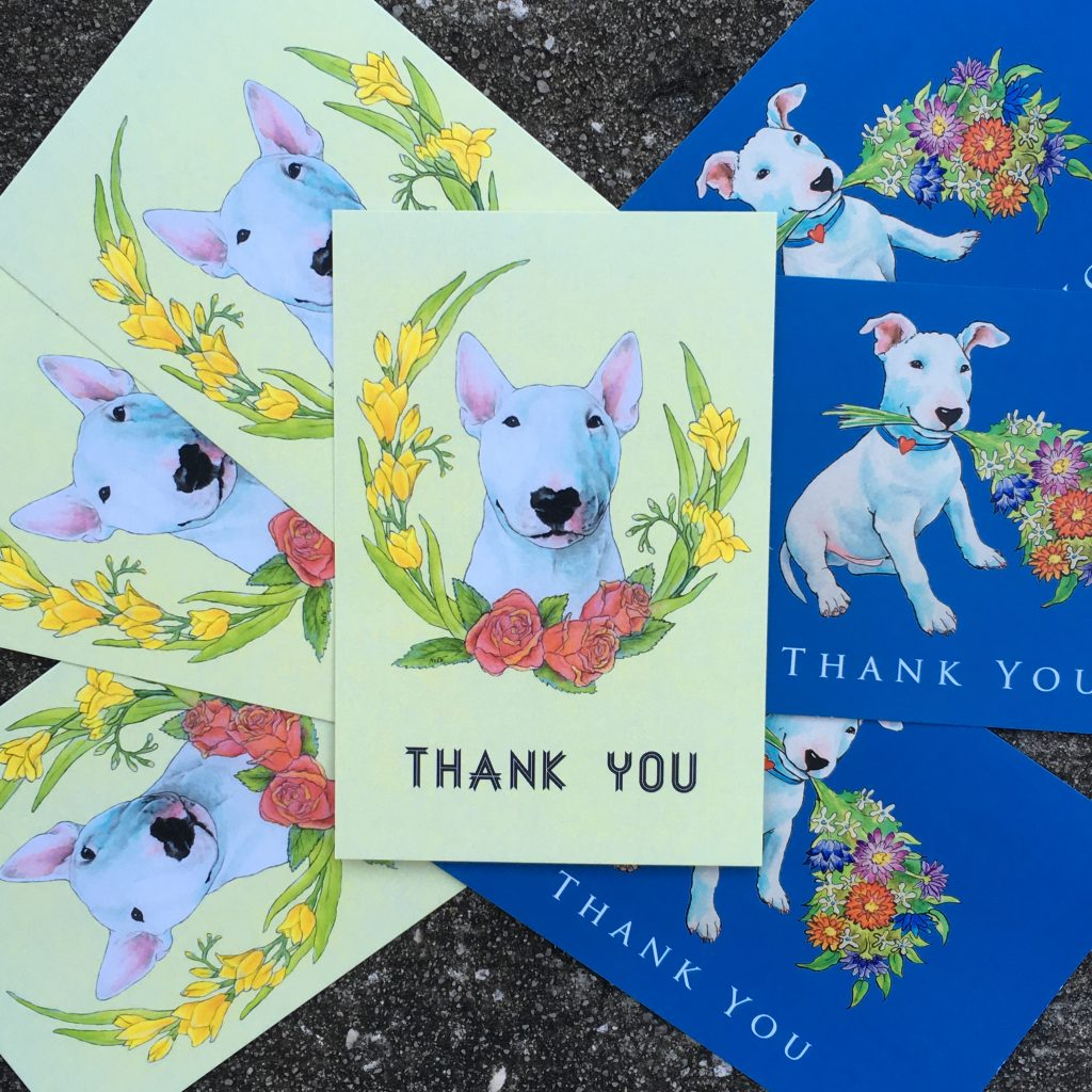 Postcard and business cards with dog art