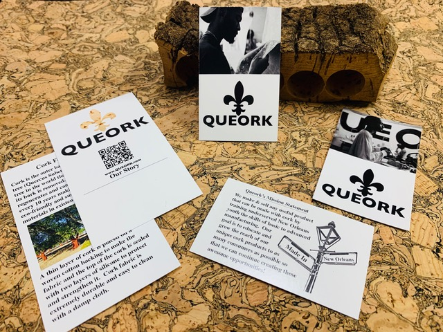 QUEORK hang tags front and back print designs