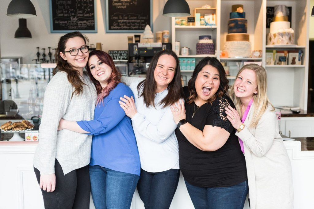 Amy's staff and bakers