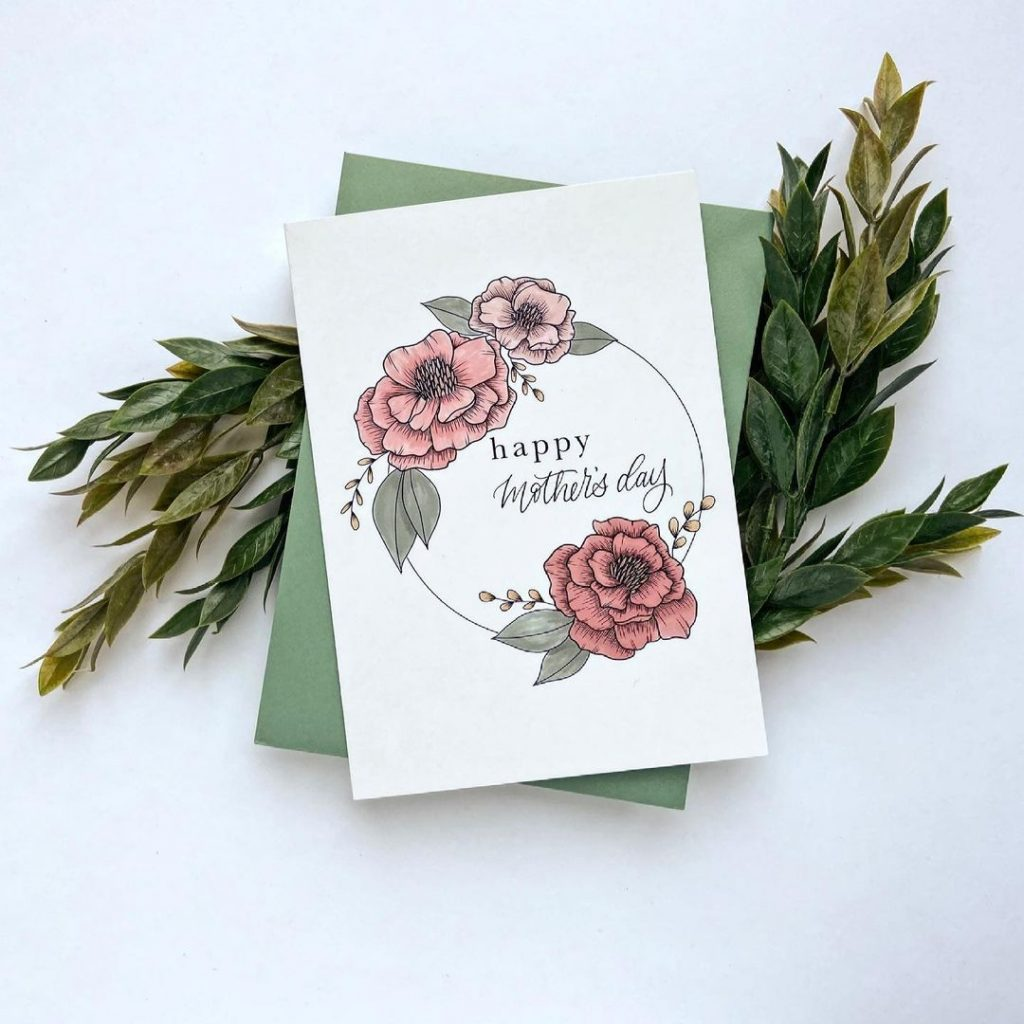 Floral design Mother's Day greeting cards by Olea Lettering