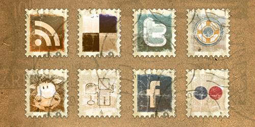 Vintage Stamp Social Media Icon