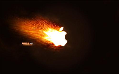 burning wallpaper apple
