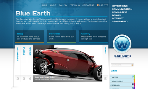 Corporate WordPress Themes - Blue Earth