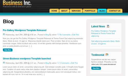 Corporate WordPress Themes - Business Inc.