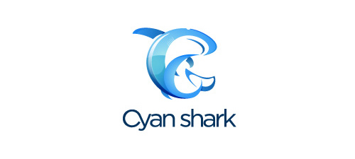 cyan shark logo designs