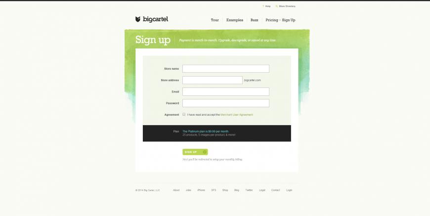 29-Sign up for the Platinum plan on Big Cartel