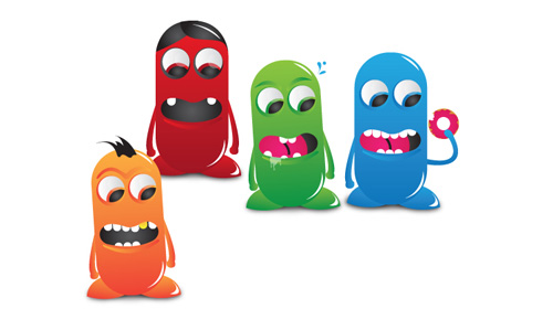 make colorful bean characters on illustrator cs4
