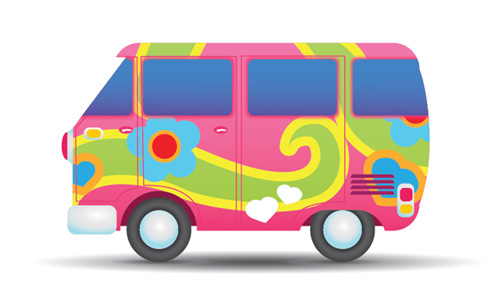 how to illustrate a colorful hippie peace van
