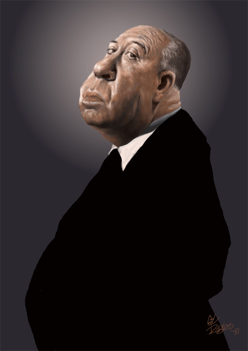 cool hitchcock caricature